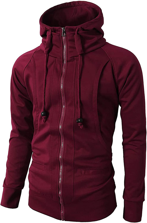 Men's Coat Fashion Autumn Winter Hoodie Sweatshirt Long Sleeve Fleece Jacquard Zipper Sport Jacket Tops