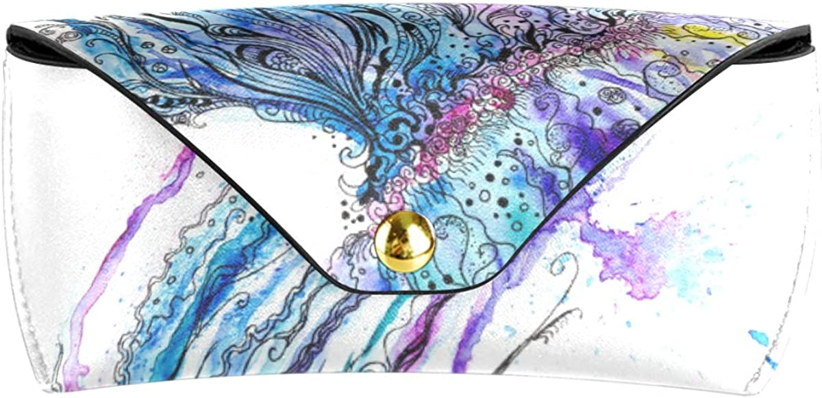 Multiuse Colorful Jellyfish Art PU Leather Wallet Sunglasses Case Eyeglasses Pouch Portable Goggles Bag
