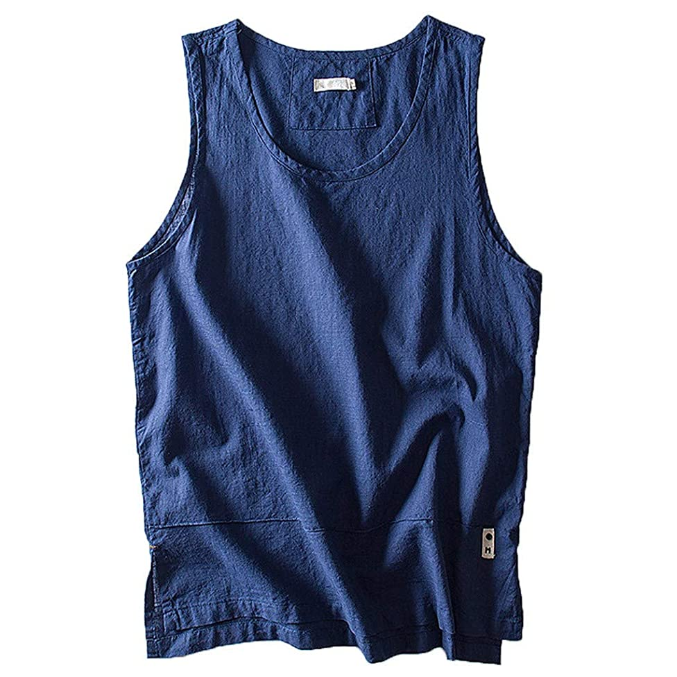 FEDULK Plus Size Men's Cotton Vest Tank Tops Solid Color Breathable Sleeveless Loose Tees Blouse