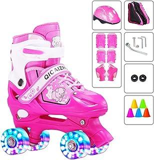 YUANYI Patines Ajustables Niña Principiantes Niños Niñas Flash Ruedas Dobles Zapatos De Patinaje Juego 2-18 Años De Edad,Pink2-S