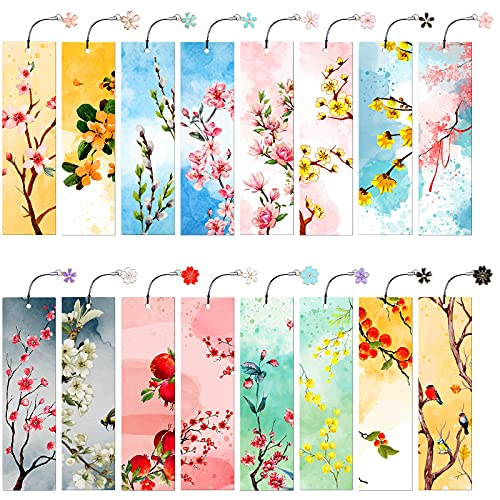 16 Pieces Flower Bookmarks with Metal Charms Colorful Floral Bookmarks Cards Double-Sided Ruler Bookmark Cute Page Markers for School Reading Boys Girls Teens and Adults Present, 2 x 7.1 inch