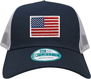 New Era 9FORTY 5 Panel USA Flag Patch Snapback Trucker Cap - Navy