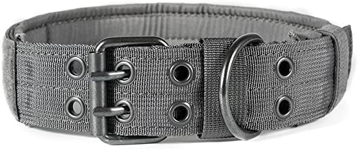 OneTigris Military Adjustable Dog Collar with Metal D Ring & Buckle 2 Sizes