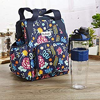 Fit & Fresh Piper Small Backpack Lunch Bag with 24-oz. Sport Water Bottle, Insulated Daypack Kit for Work, Travel, Hiking, Navy Latin Garden