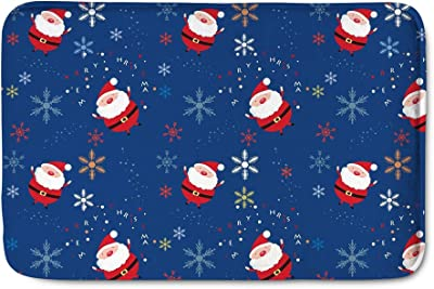 Beauty Collector Snow Santa Navy Kitchen Mat Non Slip Small Area Rugs Flannel Decoration Welcome Mats