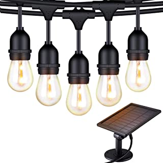 Solar String Lights - 48 ft S14 LED Outdoor IP65 Commercial Grade S14 Heavy Duty Festoon String Light 15 Hanging Sockets w...