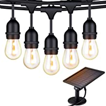 YOTOCOOL Solar String Lights, 48ft/15m LED Outdoor String Lights Waterproof Pergola Lights 15 Hanging Sockets Light Sensor...