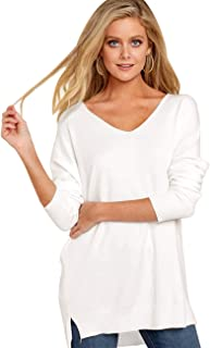 Romanstii Women's V Neck Pullover Sweater Long Sleeve Casual Loose Knit Sweater(S-2XL)