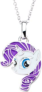 Hasbro Jewelry My Little Pony Rarity Women 925 Sterling Silver with 16+2 Inch Extender Chain Pendant Necklace