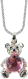 MOONSTONE Fashion Pendant For Women Sterling Silver Cute Teddy Bear Faceted Ball Swarovski Crystal Elements Chain, Light Rose