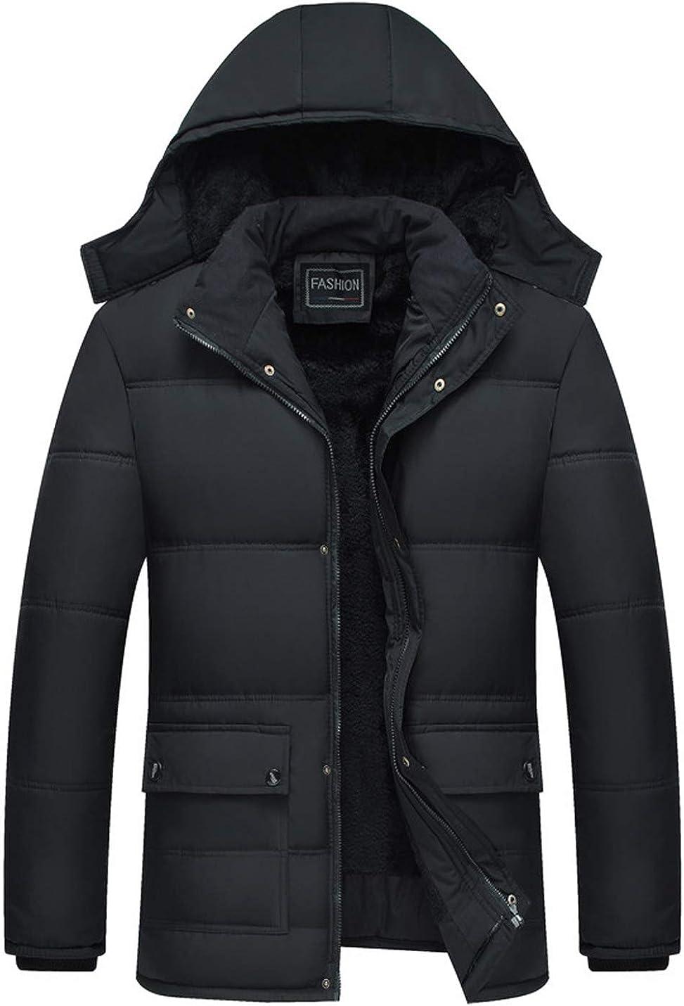 Gihuo Men's Warm Padded Fleece Lined Jacket Parka with Hood