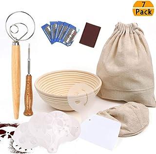 9 Inch Bread Proofing Basket, Professional Baking Tool 7 Pack Set : Banneton Proofing Basket + Cloth Liner + Storage Bag + Scoring Lame + Whisk + Scraper + Stencils For Professional and Home Baker