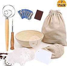 9 Inch Bread Proofing Basket, Professional Baking Tool 7 Pack Set Includes Banneton Proofing Basket,Cloth Liner,Bread Bag,...