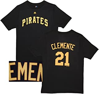 Majestic Roberto Clemente Pittsburgh Pirates Black Youth Name and Number Jersey T-Shirt