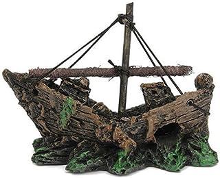 Ornamento Acuario Barco de Pesca del Ornamento del Acuario Decoracion Para Fish Tank, 100%
