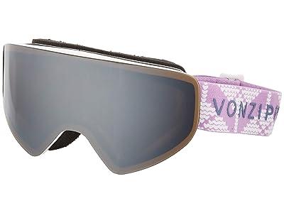 VonZipper Encore Goggle (Cable Knit White Satin/Silver Chrome Lens) Goggles