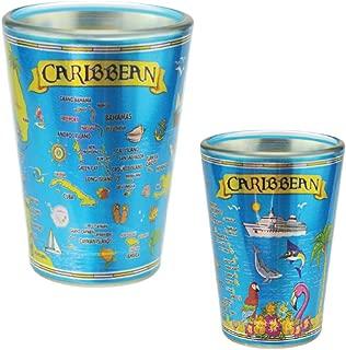 Shot Glass Caribbean Souvenir and Gift Collectible Metallic Shot Glass 2 Oz