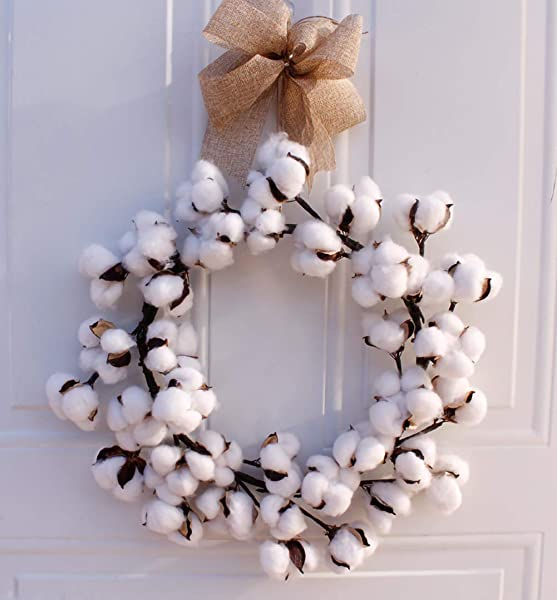 CURE SECRET 14 Inch Dried Cotton Wreath Decor Cotton Boll Floral Wreath For Christmas Vintage Wreath Farmhouse Decor Front Door Wall Wedding Centerpiece