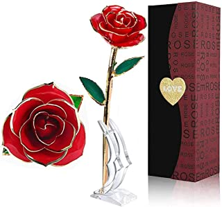 LOVLO Gold Dipped Rose 24k Red Gold Plated Rose - Everlasting Long Stem Real Rose Exquisite Holder, Romantic Gift for Valentine's Day, Best for Her Anniversary and Mother's Day