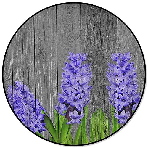 Texture in legno vintage Fiori viola Tappeti rotondi per soggiorno Aree domestiche Camera da letto Tappetino per tappeti Home Decor 120x120cm