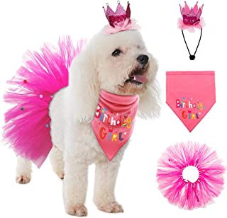 SCENEREAL Dog Birthday Bandana Girl - Birthday Party Supplies -Tutu Skirt Hat Scarf Set for Pet Puppy Cat Girl,Pink Outfit for Birthday Party