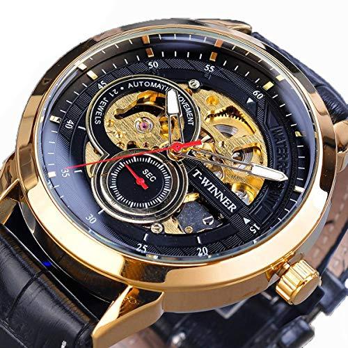 Winner Herren Automatikuhr Männer Mechanische Automatik Edelstahl Skelett Armbanduhr Mann,Gold