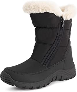 POLAR Womens Memory Foam Twin Zip Opening Pull On Nylon Waterproof Thick Faux Fur Lined Winter Rain Snow Boots