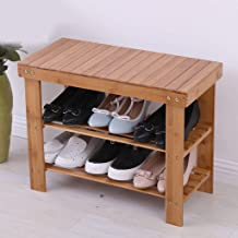 LMCLJJ Natural Bamboo Shoe Rack Bench 2 Tier Shoe Organizer Entryway Seat Storage Shelf Hallway Furniture (Size : 60cm)