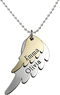 My Two Angels Personalized Mixed Tone Angel Wing Necklace with 925 silver and Gold Plated Wings. Customized with any Words or Names of your choice. Gifts for Her, Mother, Grandmother, Wife