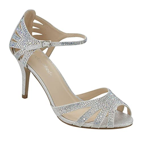 b070452a1 City Classified Comfort Womens Strappy Rhinestone Open Toe Low Heel Heeled- Sandals