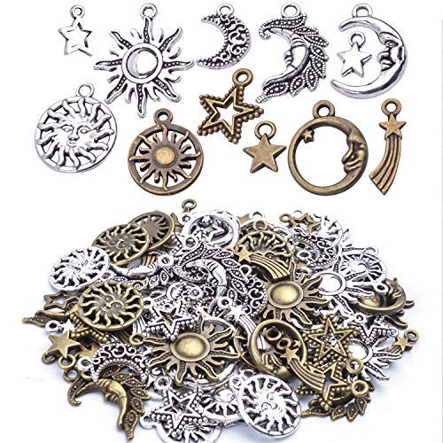 Aylifu About 80 Pieces Celestial Collection Charms, Mixed Sun Moon Star Meteor Charms Pendant Jewelry Findings for DIY Necklace Bracelet Earrings - Vintage Bronze and Silver Color