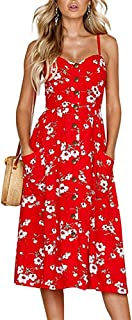 Oops Style Women's Summer Dresses, Floral Boho Spaghetti Strap Button Down Swing Midi Beach Dress with Pockets