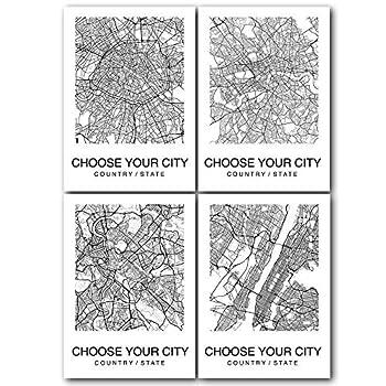 4 Pieces Map Wall Art Print Poster Custom City Map Street Black & White Decor