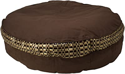 Kouboo Opulent Cotton Canvas Bean Bag, 39-Inch Diameter, Brown