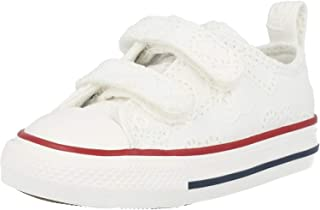 Converse Chuck Taylor All Star 2V Ox Love Ceremony Blanc/Bleu (White/Midnight Navy) Coton Bambin Formateurs Chaussures