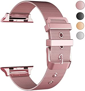 Yolovie Compatible with Apple Watch Band 42mm 44mm Stainless Steel iWatch Bands With Classic Buckle Replacement Strap for Series 4 /3 / 2 / 1 ( Rose Gold Pink )