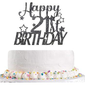 Gold 21st Birthday Party Decoration Supplies INNORU Happy 21st Birthday Cake Topper