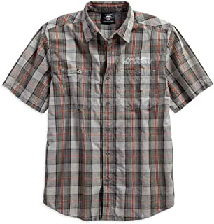 Men's Distressed Washed Plaid Short Sleeve Shirt 96119-18VM