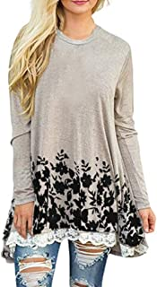 Sunmoot Lace Trim Blouse for Women Long Sleeve T Shirt Loose Casual Tops A-line O-Neck Tunic
