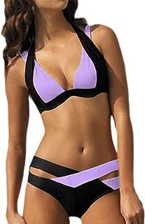 Bikini Mujer Push Up Lanskirt Costura de Color de Moda