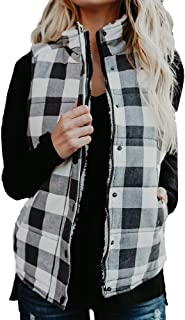DongDong✫Women Lightweight Quilted Padded Vest Plaid Stand Collar Zip Up Gilet Buffalo Elbow Patch Draped Sleeveless Cardigan