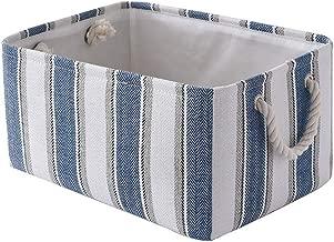 TheWarmHome Storage Basket Dog Toy Basket Baby Storage Basket Decorative Storage Basket Empty Gift Basket Shelf Basket with Handles for Office,Bedroom,Closet(Blue&White Strip, 13.8L×9.8W×6.7H inch)