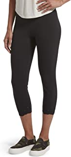 HUE Women's Fashion Cotton Capri Leggings, Assorted, Black - Embroidered, Small