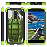 TurtleArmor | Compatible with ZTE Imperial Max Case | Max Duo | Grand X Max 2 [Grip Combat] Hard Shock Impact Dual Armor Kickstand Defender Case Green Designs - Green Grenade