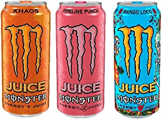 Juice Monster Energy 3 Flavor Variety Pack, 16 oz Cans, Pack of 12