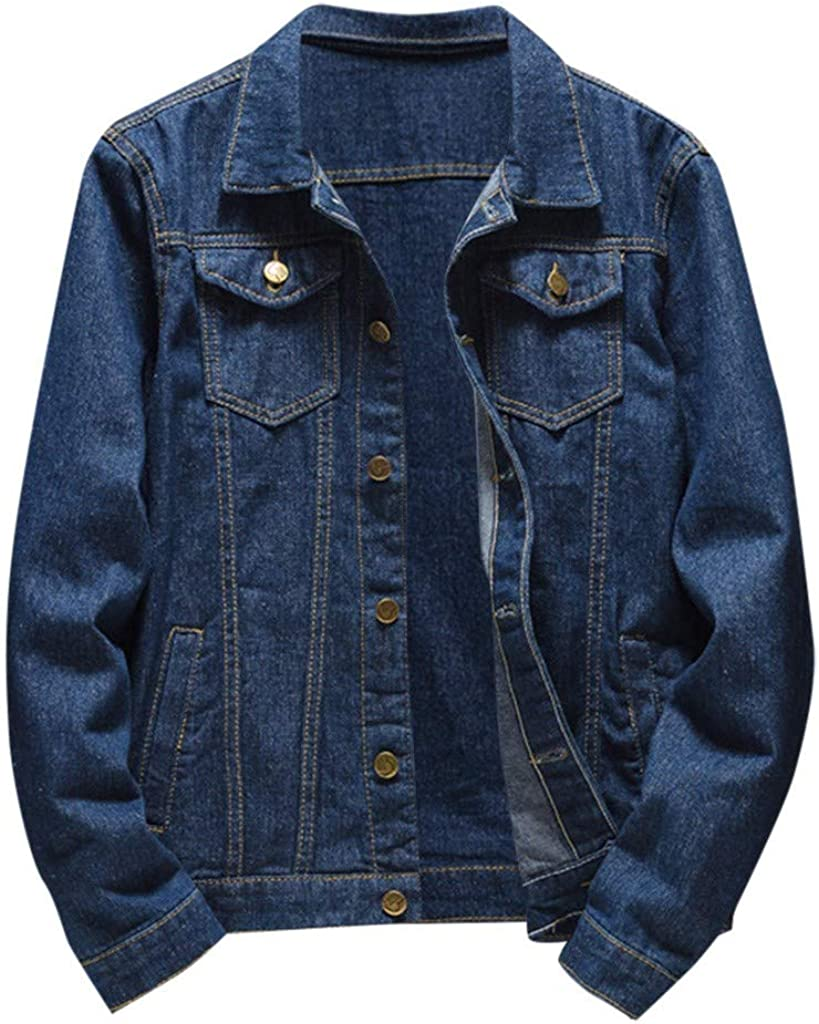 MODOQO Men's Vintage Denim Jacket Button Down Collar Long Sleeve Big and Tall Jeans Outwear