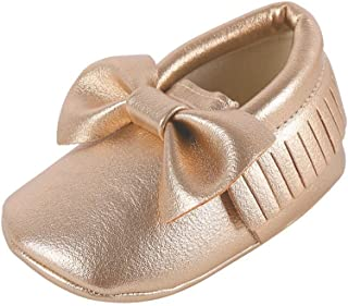 Baby Boys Girls Soft Soled Tassel Bowknots Crib Shoes PU Moccasins
