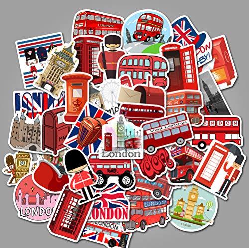 QIANGWEI 50 Stuks Londen Rode Bus Pvc Helm Diy Parijs Toren Waterdichte Cartoon Sticker Bagage Laptop Telefoon Gitaar Kamer Muurdecoratie