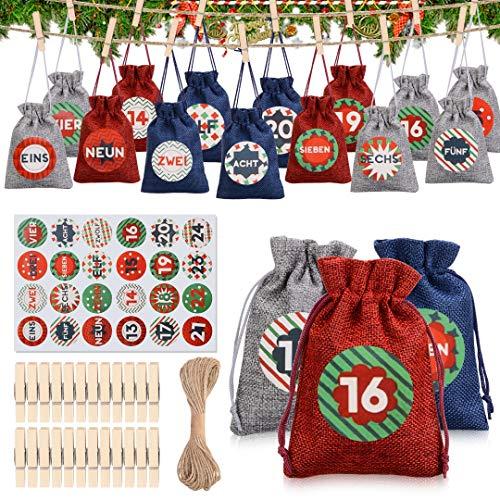 Tocawe Adventskalender zum Befüllen - Stoffbeutel, 24 Weihnachten Geschenksäckchen mit Aufkleber, Mini-Holzklammern und 10m Jute Hanfseile, Weihnachtskalender tüten Geschenkbeutel 13.5*9.5cm(Stil B.)
