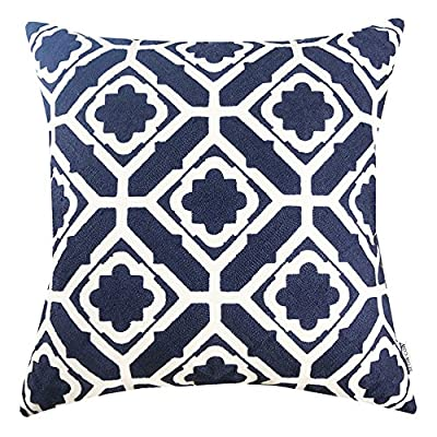 Embroidered Floral Design Decorative Pillow Cover